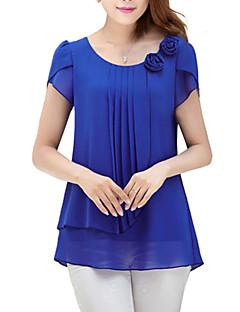 אחיד צווארון עגול פשוטה / סגנון רחוב ליציאה חולצה נשים שרוולים קצרים כחול / אדום / ירוק דק פוליאסטר