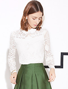 I'HAPPY Women's Going out Vintage Spring / Fall BlouseSolid Shirt Collar Long Sleeve White / Black
