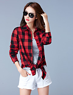 Women's Plus Size / Casual/Daily Simple Fall ShirtPlaid Shirt Collar Long Sleeve Red / Black Cotton Medium