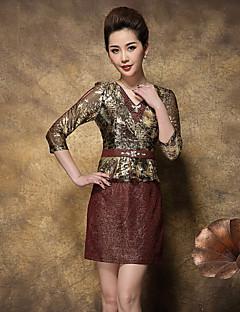 Dámské Sofistikované Jdeme ven / Velké velikosti Pouzdro Šaty Barevné bloky / Žakár,Tříčtvrteční rukáv Do V Nad kolena Zlatá Polyester