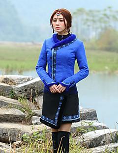 Veste Femme,Broderie Sortie Chinoiserie Manches Longues Coeur Bleu Polyester Epais Hiver