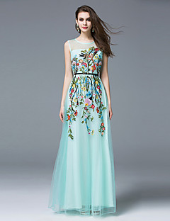 Boutique S Women's Casual/Daily Chinoiserie Sheath DressFloral Round Neck Maxi Sleeveless Blue Polyester Summer