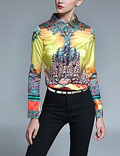 Langærmet Krave Medium Dame Gul Trykt mønster Alle årstider Vintage Casual/hverdag Skjorte,Polyester
