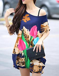 T-shirt Da donna Casual Semplice / Moda città Estate,Fantasia floreale / Con stampe Rotonda Seta Multicolore Manica corta Sottile