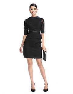 2017 ts couture® Cocktailpartykleid Mantel / Spalte Stehkragen kurz / Mini-Spitze / Satin mit Appliques / Spitze / Schärpe / Band
