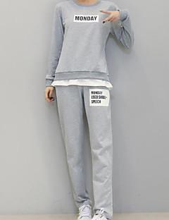 Damen Buchstabe Aktiv Sport T-shirt Hose,Rundhalsausschnitt Herbst Langarm Schwarz / Grau Baumwolle Undurchsichtig