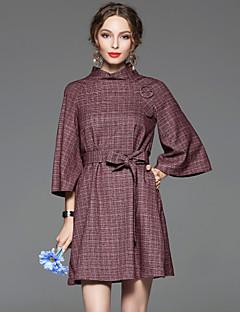 Damen A-Linie Kleid-Arbeit Retro Solide Ständer Übers Knie ¾-Arm Lila Baumwolle / Elasthan Frühling Mittlere Hüfthöhe Mikro-elastisch