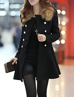 Manteau Femme,Couleur Pleine Vintage Manches Longues Col de Chemise Rouge / Noir / Orange Laine / Autres Epais Hiver