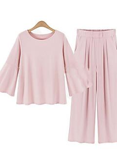 Damen Solide Street Schick Lässig/Alltäglich / Übergröße T-shirt Hose,Rundhalsausschnitt Frühling / Herbst Langarm Rosa / Schwarz