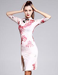 Latin Dance Dresses Women's Training Spandex Pattern/Print 1 Piece Multi-color Half Sleeve Natural Dress Free Shorts