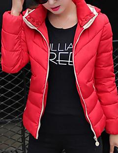 Women's Long Sleeve Parka Coat , Casual/Cute Polyester
