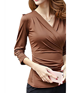 Women's Solid Red / Black / Brown Blouse,V Neck Long Sleeve