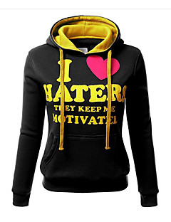 Women's Casual/Daily Simple / Active Regular Hoodies Loose All Match Color Block / Letter Hooded Long Sleeve