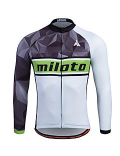 Miloto חולצת ג'רסי לרכיבה לגברים שרוול ארוך אופניים סווטשירט ג'רזי צמרותשמור על חום הגוף ייבוש מהיר רוכסן קדמי נושם רך רוכסן YKK דחיסה