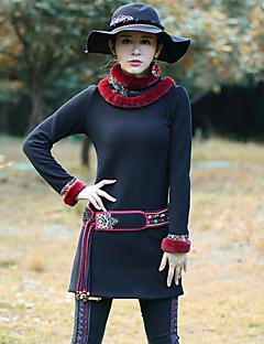 Damen Standard Pullover-Ausgehen Retro Geometrisch Schwarz Rundhalsausschnitt Langarm Baumwolle Frühling / Herbst Mittel Mikro-elastisch