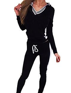 Women's Sports Active Spring Set PantPrint V Neck Long Sleeve Black / Gray Cotton Medium