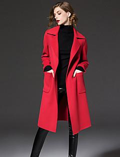 frmz arbeiten einfach coatsolid Revers kulminierte lange Ärmel Winter blau / rot / schwarz / braun Wolle / Polyester-Medium