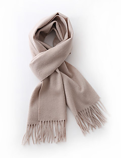 Unisex Cashmere Scarf Vintage Work Casual Rectangle Beige Solid