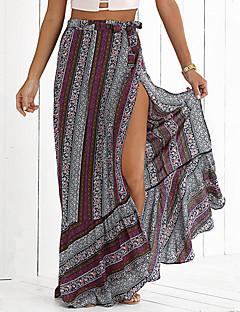 Women's Boho High Slit Bohemian Printed Mermaid Skirt