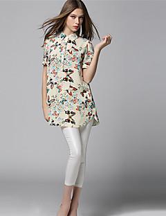 AJIDUO® Női Állógallér Rövid ujjú Shirt és blúz Mandula-A6968