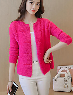 Women's Casual/Daily Cute Regular CardiganSolid Blue / Pink / Red / White Round Neck  Sleeve Polyester Fall