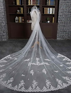 Véus de Noiva Uma Camada Véu Capela Borda com aplicação de Renda Tule Renda Marfim