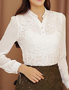 Blusa Da donna Formali Semplice Per tutte le stagioni,Tinta unita Bianco Manica lunga Medio spessore