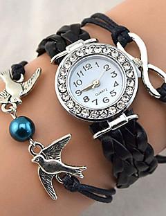 לנשים שעוני אופנה שעון צמיד שעון יד קווארץ חיקוי יהלום אבן נוצצת PU להקה וינטאג' מדבקות עם נצנצים Heart Shape בוהמי פנינים מגניב יום יומי