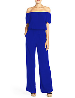 Women's SolidOff-The-Shoulder Slim Wide Leg Jumpsuits Sexy / Simple Boat Neck Short Sleeve