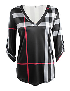 Women's Casual/Daily Vintage / Simple Fall / Winter T-shirtPlaid V Neck  Sleeve Pink / White / Black Cotton / Rayon Thin