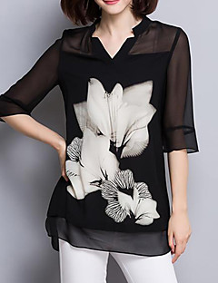 Women's Casual/Daily Plus Size / Street chic Summer Blouse,Floral V Neck ¾ Sleeve Black Polyester Thin
