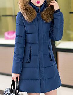 コート ロング ダウン レディース,カジュアル/普段着 プラスサイズ ソリッド ポリエステル ポリプロピレン-シンプル 長袖 フード付き