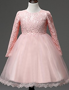 Ball Gown Knee Length Flower Girl Dress - Organza Long Sleeves Jewel Neck with Lace