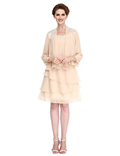 LAN TING BRIDE A-line Mother of the Bride Dress - Convertible Dress Knee-length 3/4 Length Sleeve Chiffon with Tassel(s)
