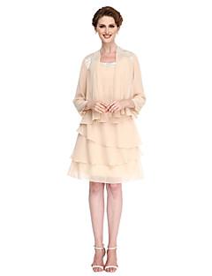 LAN TING BRIDE Trapèze Robe de Mère de Mariée - Robe Convertible Mi-long Manches 3/4 Mousseline de soie - Frange(s)