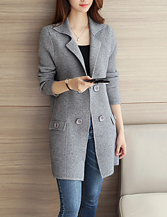 Women's Casual/Daily Simple Regular CardiganSolid Gray Shirt Collar Long Sleeve Fall / Winter Thick Micro-elastic