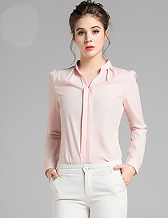 Women's Work Sophisticated Fall BlouseSolid V Neck Long Sleeve Pink / White Acrylic Medium