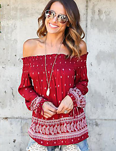 Women's Casual/Daily Sexy / Street chic Backless Bandage Spring / Fall T-shirt Print Boat Neck Long Sleeve Red