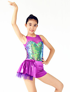 Jazz Dresses Women's / Children's Performance Spandex / Sequined Draped/ Sequins 1 Piece Purple Jazz Sleeveless