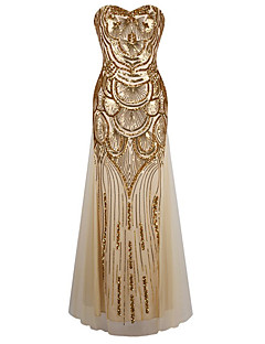 Women's Formal / Party/Cocktail Sexy / Vintage / Cute Swing Dress, Strapless Maxi Sleeveless Gold Polyester