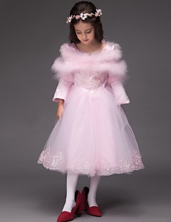 Ball Gown Tea-length Flower Girl Dress - Satin / Tulle Long Sleeve Scoop with Embroidery / Ruffles