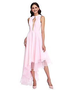 2017 Lanting Bride® Asymmetrical Chiffon Elegant Bridesmaid Dress - A-line Jewel with Ruffles
