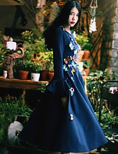 Dame Vintage I-byen-tøj Afslappet/Hverdag Swing Kjole Broderi,Rund hals Midi Langærmet Blå Bomuld Nylon Forår Højtaljede Mikroelastisk Tyk
