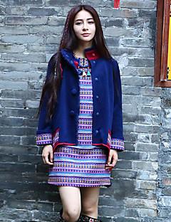 Veste Femme,Broderie Sortie Bohème Manches Longues Mao Bleu Rayonne / Polyester Moyen Hiver