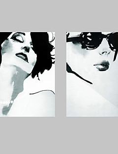 E-HOME® Stretched Canvas Art Black And White Women Decoration Painting  Set of 2