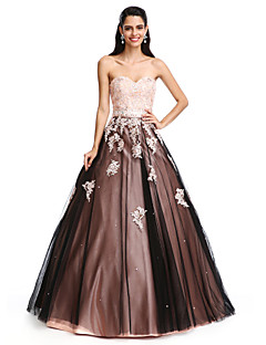 2017 TS Couture® Prom Formal Evening Dress Ball Gown Sweetheart Floor-length Satin / Tulle with Beading