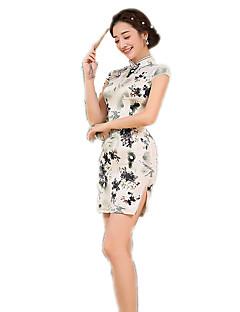 한 조각/드레스 코스프레 로리타 드레스 플로럴 짧은 소매 중간 길이 용 폴리에스터
