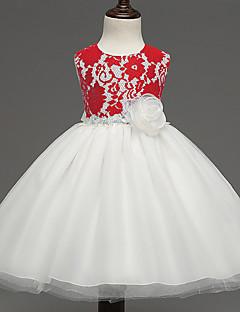 שמלה מסיבה\קוקטייל סרוג פוליאסטר קיץ סגול / אדום הילדה של