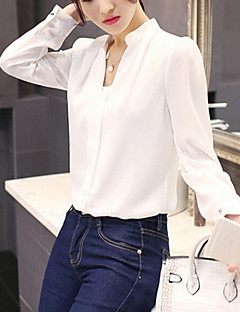 Women's Work / Casual/Daily Sexy / Simple Spring / Summer Shirt,Solid V Neck Long Sleeve White Polyester Medium / Thin