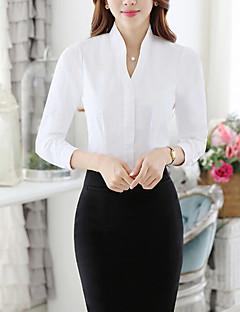 Vrouwen Eenvoudig Herfst Overhemd,Casual/Dagelijks / Werk Effen V-hals Lange mouw Wit Polyester Medium